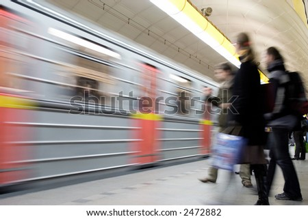 A subway station, long shutter speed - blured in motion - stock photo