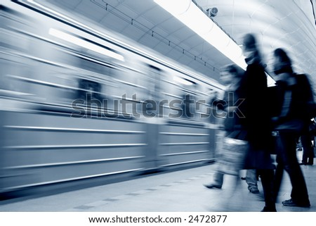 A subway station, long shutter speed - toned version - stock photo