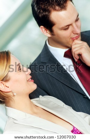 a successful business team is talking in an office - stock photo