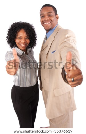 a successful couple gives the camera a thumbs up