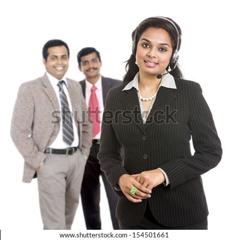 A Successful Indian business team isolated on white.