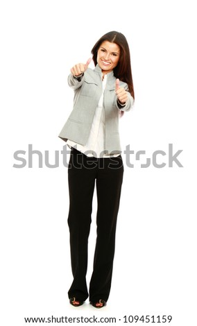 A successful young businesswoman showing ok, isolated on white background - stock photo