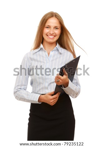 A successful young businesswoman with a clipboard, isolated on white - stock photo