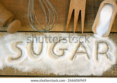 a sugar word with background - still life  - stock photo