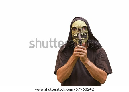 a suicidal madman in a halloween mask with a pistol attempting to kill himself isolated on white with room for your text - stock photo