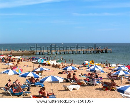 A summer afternoon at the beach in Algarve (Portugal) - stock photo