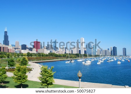 a summer chicago scene - stock photo