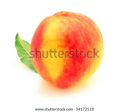 A summer ripe peach isolated on a white background