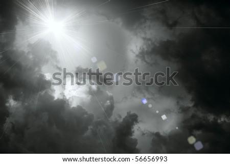 a sun among clouds - stock photo