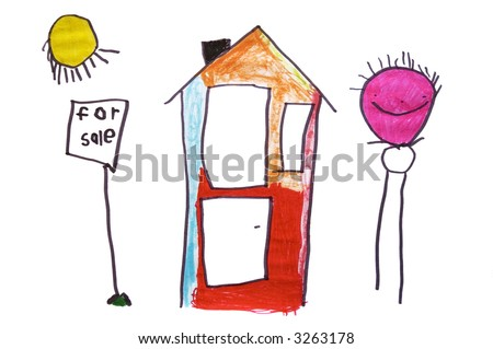 A sunny, happy 6 year old children's drawing of a house for sale.