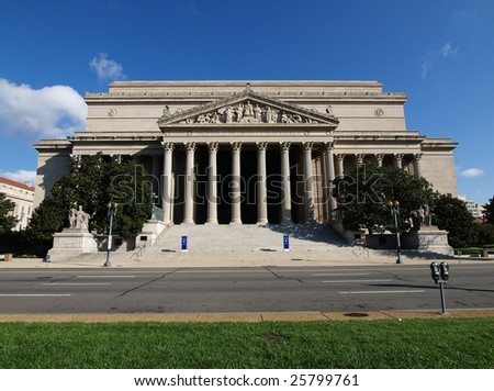 A sunny morning at the National Archives Building in Washington DC. - stock photo