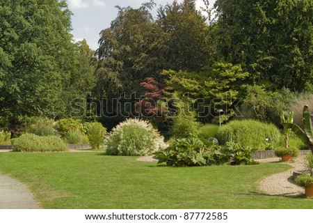 a sunny park with various plants and flowers at summer time in Southern Germany - stock photo