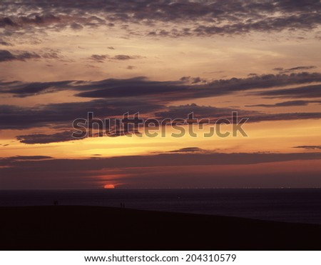 A Sunset And The Light Of The Sea - stock photo