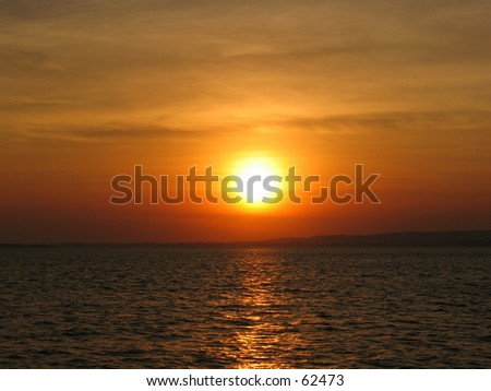 a sunset in ny - stock photo