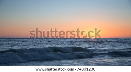 A Sunset on the Pacific Ocean in California - stock photo