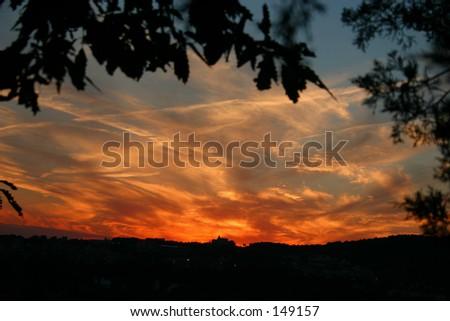 A sunset over Branson MO, USA - stock photo