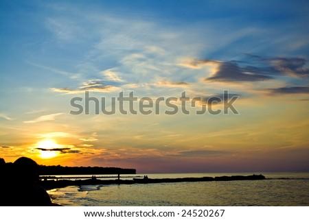 A sunset over Lake Erie, Cleveland Ohio. - stock photo