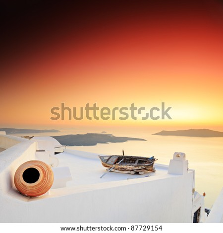 A sunset over Santorini island, Greece - stock photo