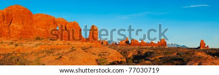 A sunset panorama of the Windows Area of Arches National Park, Utah.