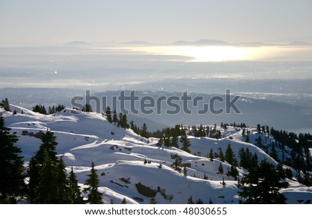 A sunset view near Mountain Seymour in Vancouver, Canada. - stock photo