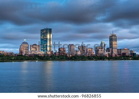 A sunset view of Boston across the Charles River from Cambridge at Sunset