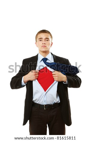 A super business man isolated on white background - stock photo