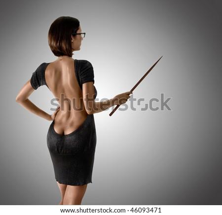 A super sexy teacher costume - stock photo