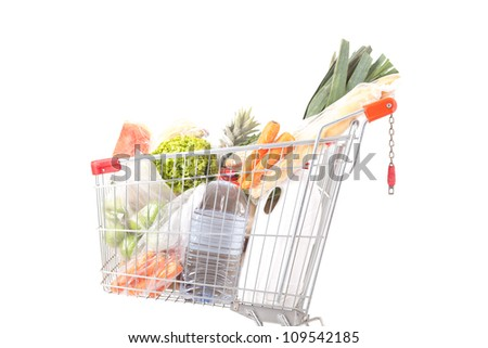 A supermarket car, isolated over a white background - stock photo