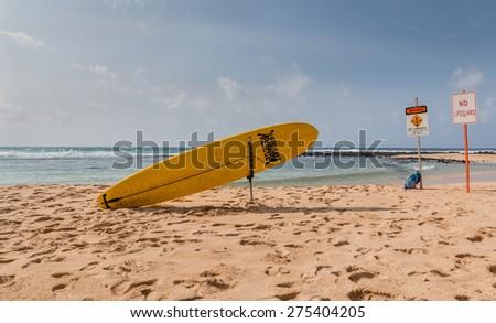 A surf rescue station on a sandy beach , Kauai, Hawaii - stock photo