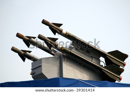 A surface-to-air missile battery mounted on a destroyer - stock photo