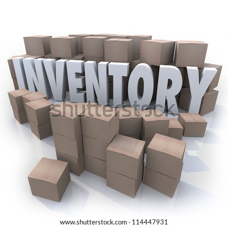 A surplus or oversupply of products in cardboard boxes in a stockroom or warehouse with the word Inventory in the mess of box piles and stacks - stock photo