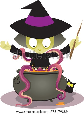 A surprised witch conjures up an unexpected slimy monster in her cauldron. Raster illustration. - stock photo