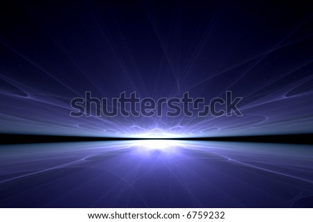 a surreal blue light reflection over black - stock photo