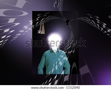 A Surreal Image features an Idea man, binary code and other strange elements - stock photo