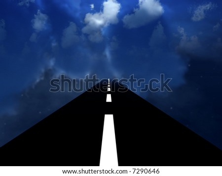 A surreal image of a road or highway in a cloudy dark sky.