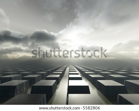 a surreal landscapes with hundreds of rectangular water filled basins, standing in the sea - stock photo
