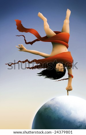 a surreal painting of a long haired man wrapped in red fabric balancing on the Earth tethered by his index finger - stock photo