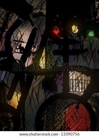 a surreal urban collage with silhouettes and lights - stock photo