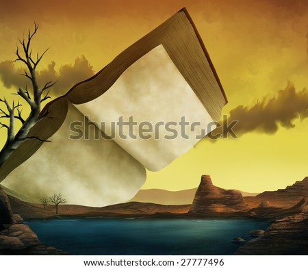 a surrealist painting of an ancient textbook in a yellow sky over a red desert and a cool lake - stock photo