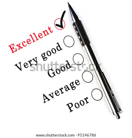 A survey check box questionnaire for customer satisfaction with check boxes focusing on Excellent. - stock photo
