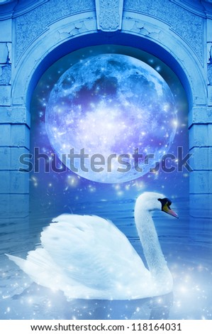a swan near mystical gate with moon like a spiritual concept of dreams - Moon in this image is furnished by NASA - stock photo