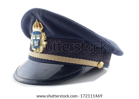 a Swedish police hat on a white background - stock photo