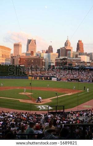 A sweeping view of Comerica Park home of baseballs Detroit Tigers. - stock photo