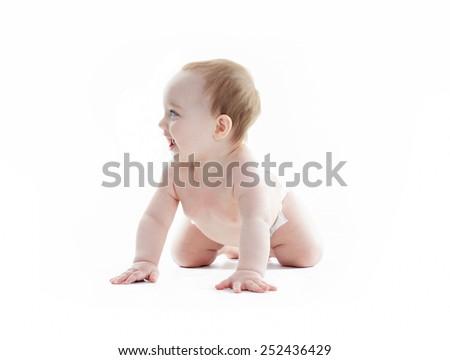 A sweet little boy in studio white background - stock photo