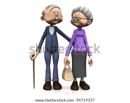 A sweet old cartoon man and woman smiling and looking at each other. White background.