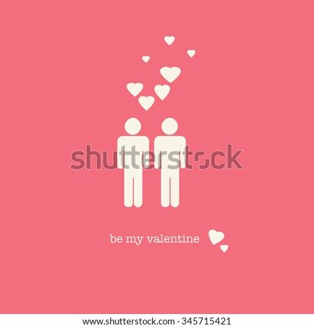 a sweet valentines day card with a gay couple figures and hearts on pink background
