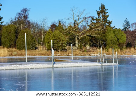 A swimming dock or bathing pier has frozen solid in the sea ice at winter. Seen from the sea with the main land in background. Juniper bushes and an oak tree visible on land. - stock photo