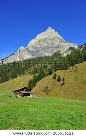 A Swiss chalet high in the alps, in green fields with a mountain in the background. Space for text in the clear blue sky