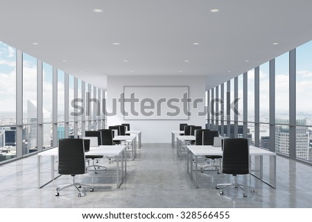 A symmetric corporate workplaces equipped by modern laptops in a modern panoramic office in New York City. Black leather chairs and a white tables, a huge whiteboard on the wall. 3D rendering. - stock photo