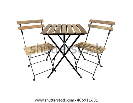 A table and two chairs on white - stock photo